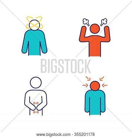 Emotional Stress Color Icons Set. Dizziness, Anger, Indigestion, Nervous Tension. Isolated Vector Il