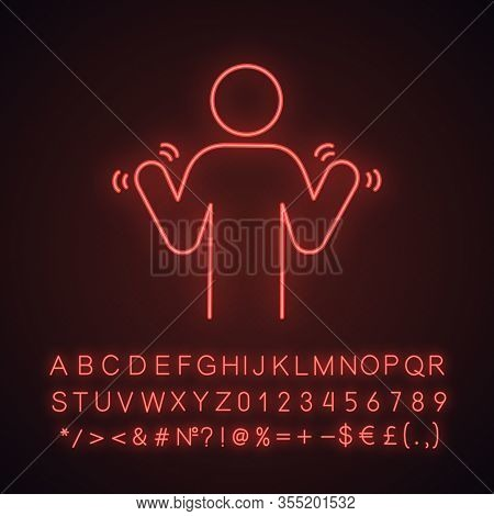 Hands Tremor Neon Light Icon. Parkinsons Disease. Shaky Hands. Anxiety Tremor. Muscle Twitching. Tre