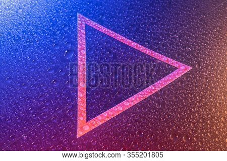 Drops Of Water, Triangle Background In Neon Light, Frame Trend 2020 Color Aqua Menthe Classic Blue L
