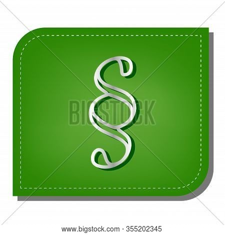 Paragraph Sign Illustration. Silver Gradient Line Icon With Dark Green Shadow At Ecological Patched