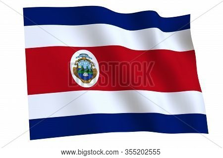 Costa Rica Flag, 3d Render. Flag Of Costa Rica Waving In The Wind, Isolated On White Background.