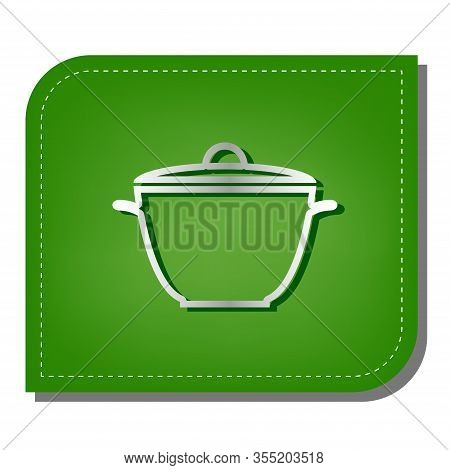 Saucepan Simple Sign. Silver Gradient Line Icon With Dark Green Shadow At Ecological Patched Green L
