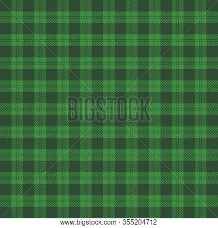 St. Patricks Day Tartan Plaid. Scottish Pattern In Green And Black Cage. Scottish Cage. Traditional