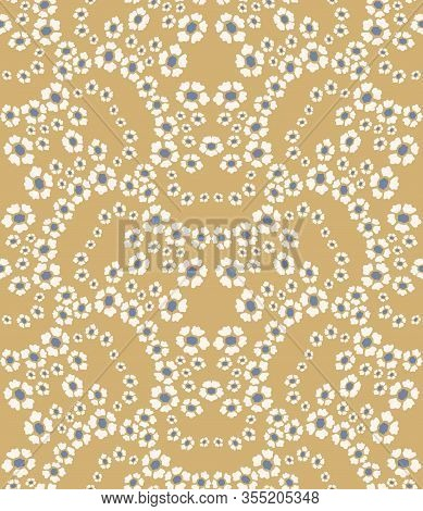 French Shabby Chic Damask Vector Texture Background. Dainty Flower In Blue Yellow On Off White Seaml