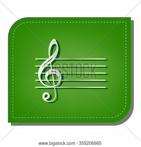 Music Violin Clef Sign. G-clef. Silver Gradient Line Icon With Dark Green Shadow At Ecological Patch