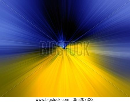 Abstract Yellow, Blue Zoom Effect Background. Digitally Generated Image. Rays Of Yellow, Blue Light.