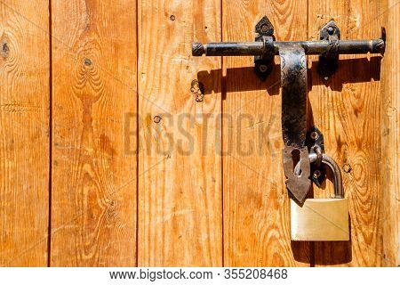 Image Of Close Up Old Lock Door In Morocco.