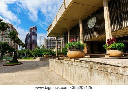 Hawaii State Capitol In Honolulu, Oahu, Hawaii