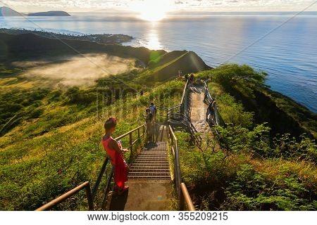 Trail At The Diamond Head Crater At Honolulu, Oahu, Hawaii