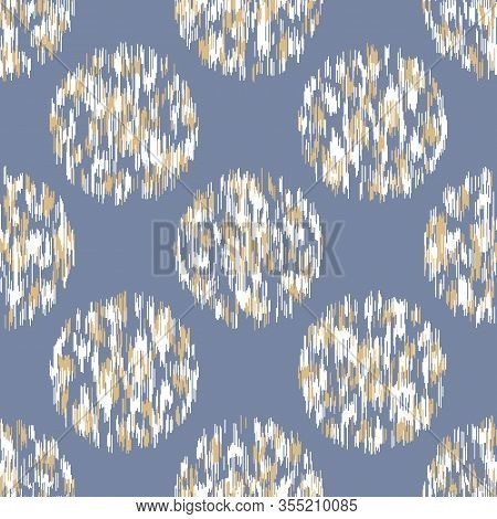 French Shabby Chic Stylized Dotty Vector Texture Background. White Blue Polka Dot Glitch Seamless Pa