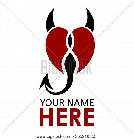 Devil Heart On Valentine Card With Love Is A Devil Text For Valentines Day, February 14, Red Black C