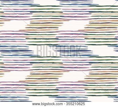 Watercolor Vector Chevron Stripe Background. Horizontal Masculine Shirt Zig Zag Line Seamless Patter