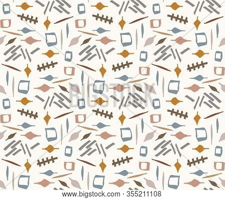 Hand Drawn Whimsical Scribble Lines Seamless Pattern. Vector Painterly Textured Organic Marks And St