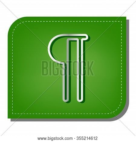 Paragraph Sign. Silver Gradient Line Icon With Dark Green Shadow At Ecological Patched Green Leaf. I