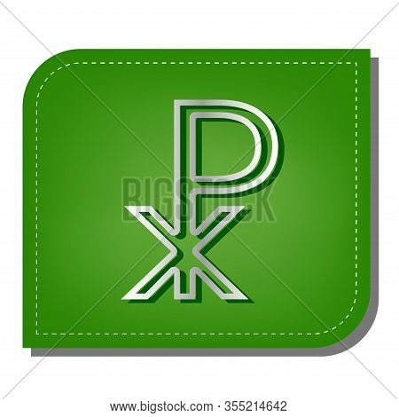 Constantine Cross Sign. Silver Gradient Line Icon With Dark Green Shadow At Ecological Patched Green