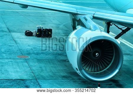 Lisbon, Portugal- March 11, 2020: Plane Of The Company Tap Parked At The Lisbon Airport Called Humbe