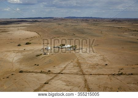 Marree Australian Outback Isolated House In The Desert Aerial With Copy Space Marree, South Australi