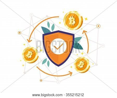 Vector Illustration Bitcoin Protection Concept. Blockchain And Bitcoin Mining Technologies Concept.