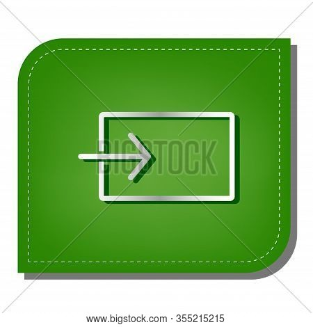 Input Sign. Silver Gradient Line Icon With Dark Green Shadow At Ecological Patched Green Leaf. Illus