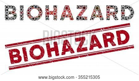 Biohazard Stamp Seal And Coronavirus Mosaic Text. Red Vector Scratched Seal Stamp With Biohazard Phr