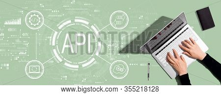 Api - Application Programming Interface Concept Api Concept With Person Using A Laptop Computer