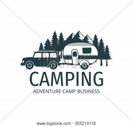 Camping Car Trailer In The Middle Of Jungle Of Pine Trees For Outdoor Camp Adventure Vector Logo Des