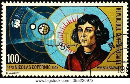 Moscow, Russia - March 10, 2020: Stamp Printed In Central African Republic Shows Nicolaus Copernicus