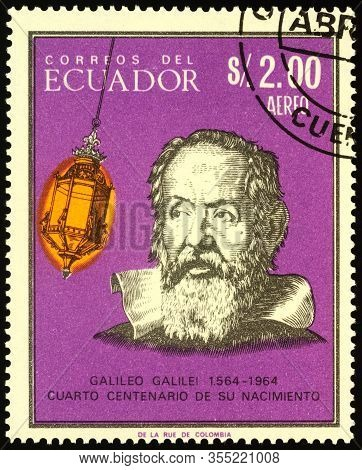 Moscow, Russia - March 11, 2020: Stamp Printed In Ecuador Shows Galileo Galilei (1564-1642), Italian