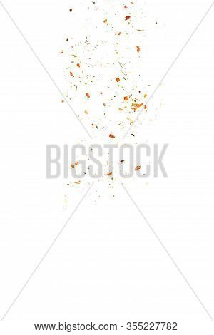 Crushed Seasoning With Dry Vegetables, Chili Flakes And Cayenne Pepper Isolated On White Background.