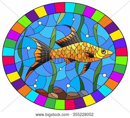 Illustration In Stained Glass Style Of A Swordfish On A Background Of Algae And Water, Oval Image In
