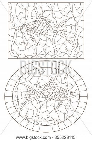 Set Of Contour Illustrations Of Stained Glass Windows With Swordfish And Algae, Dark Contours Isolat