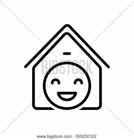 Black Line Icon For Satisfaction Contentment Gratification Delight Achievement Enjoyment Happiness