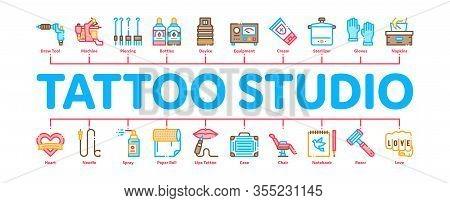 Tattoo Studio Tool Minimal Infographic Web Banner Vector. Tattoo Studio Machine And Razor Equipment,