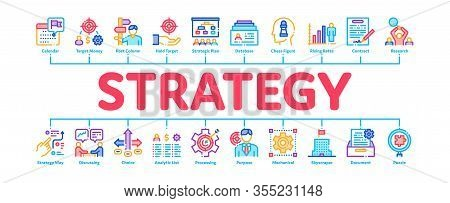 Strategy Manager Job Minimal Infographic Web Banner Vector. Contract Signing And Customer Database,