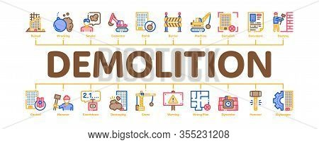 Demolition Building Minimal Infographic Web Banner Vector. Crane With Wrecking Ball And Fence, Hamme
