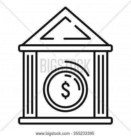 Money Coin Bank Icon. Outline Money Coin Bank Vector Icon For Web Design Isolated On White Backgroun