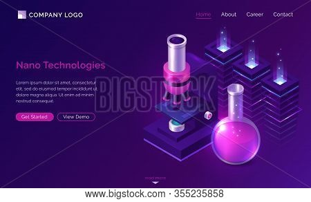 Nano Technologies Isometric Landing Page, Electronic Microscope, Glass Lab Flask With Pink Liquid An