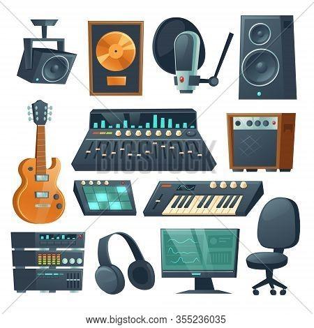 Music Studio Equipment Isolated On White Background. Vector Cartoon Set Of Sound Recording Tools, Gu