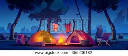 Summer Night Camp With Tent, Campfire, Trees, Lake And Mountains On Background. Vector Cartoon Lands
