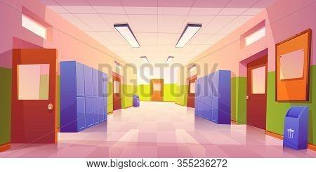 School Hallway Interior With Entrance Doors, Lockers And Bulletin Board On Wall. Vector Cartoon Illu