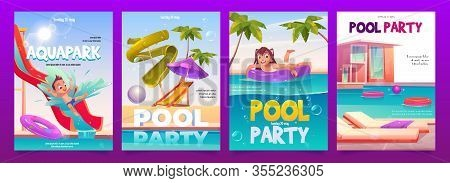 Kids Aquapark Pool Party Banners Set, Amusement Aqua Park With Water Attractions, Boy Riding Slide,