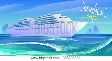 Cruise Ship In Ocean. Summer Luxury Vacation On Cruise Liner. Vector Cartoon Illustration Of Tropica