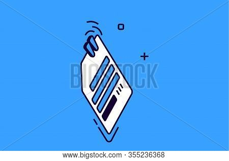 Isometric Icon Paper Clip Attachment. Note, Attached Email File Sign Isolated On Blue Background, El