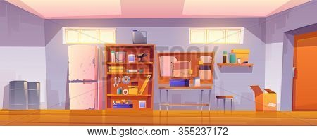 Garage Interior With Equipment For Carpentry And Repair Works. Vector Cartoon Illustration Of Worksh