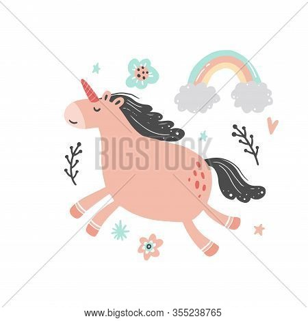 Unicorn Of Simple Trendy Cartoon Style With Elements. Unicorn Of Pink Color For Kids And Magic Texti