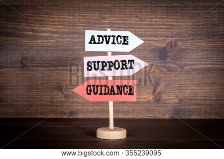 Signpost With Arrows - Advice, Support And Guidance. Customer Support, Teamwork And Education Concep