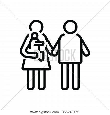 Black Line Icon For Parent Father Mother Ancestor Foster-parent Guardian