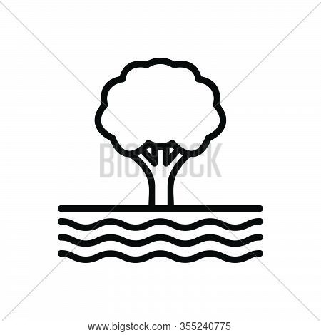 Black Line Icon For Edge Tree Wave Flow Stream Current Clause Torrent
