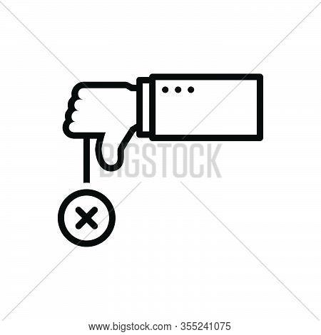 Black Line Icon For Negative No Refusal Rejection Thumbs-down  Unassertive Dislike Unlike Cancel