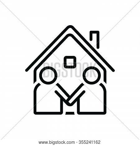 Black Line Icon For Neighbor Vicinal Neighbour Next-door Neighboring Acquaintance Familiarization Me